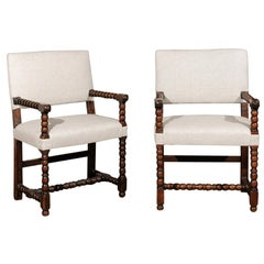 Pair of Italian Baroque Style Oak Armchairs with Bobbin Legs and New Upholstery