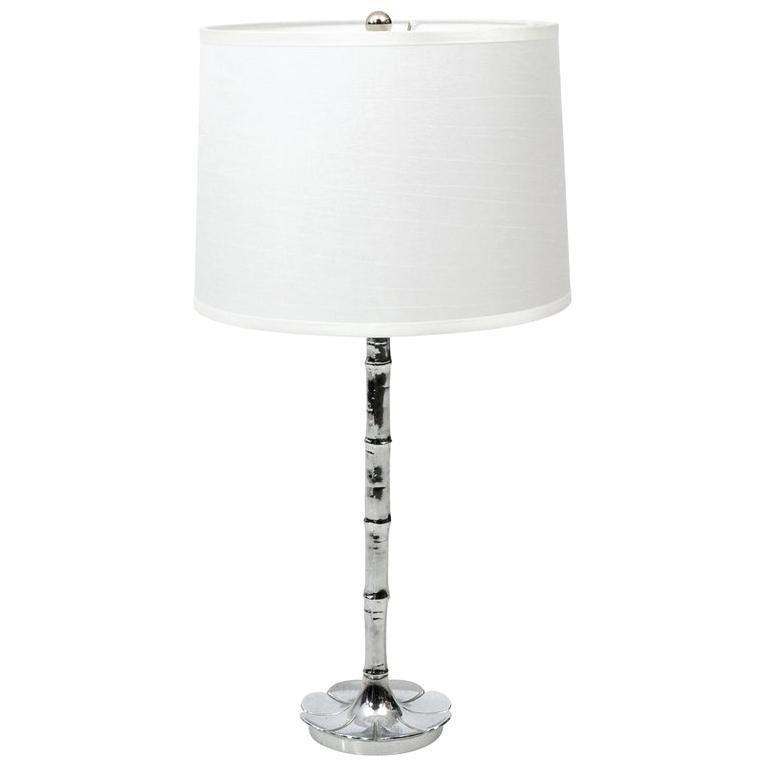 Faux Bamboo Chrome Lamp