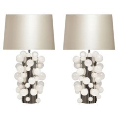 Pair of Rock Crystal Bubble Lamps