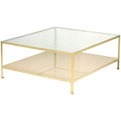 90° Glass & Metal Small Square Coffee Table, Vica designed by Annabelle Selldorf