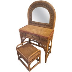 20th Century, French Rattan Dressing Table, 1960s