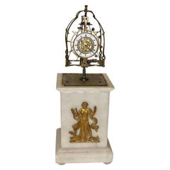 Early 19th Century French Skeleton Antique Clock Simulating Perpetual Motion