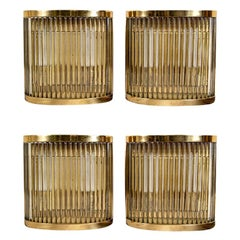 Set of Four Vintage Bronze and Glass Wall Sconces