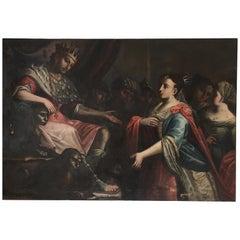 Esther before Ahasuerus 18th Century Large Italian School Painting with Figures