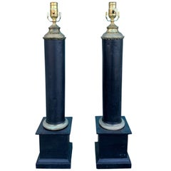 Pair of Early 20th Century Black Tole Column Lamps