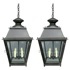 Pair of 19th-20th Century French Iron Lanterns
