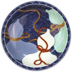 Japanese Nabashima Porcelain Blue Plate with Three Sake Bottle Motif