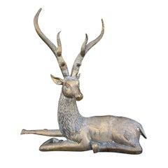 Large Mid-20th Century Brass Recumbent Deer Sculpture, circa 1970s