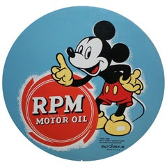 1939 RPM Motor Oil Tin Sign with Disney's Mickey Mouse