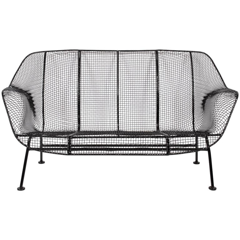 "Original Russell Woodard Black ""Sculptura"" Settee, 1950s For Sale"