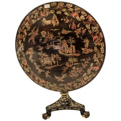 19th Century Tilt-Top Lacquered and Gilded Wood English Table with Chinoiseries