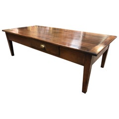 Large 19th Century French Farmhouse Elm Coffee Table