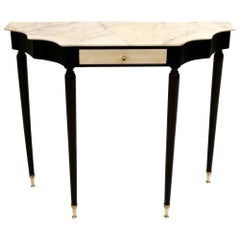 Midcentury Ebonized Console Table with Portuguese Pink Marble Top, Italy, 1950s