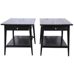 Paul McCobb Planner Group Ebonized Nightstands or End Tables, Pair