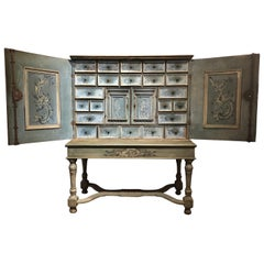 17th Century Blue Hand Painted Swiss Baroque Multi-Drawer Cabinet