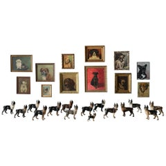 Collection of Dog Oil Paintings and Cast Iron Door Stops, circa 1880-1960