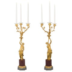True Pair of French 19th Century Louis XVI Style Ormolu and Marble Candelabra