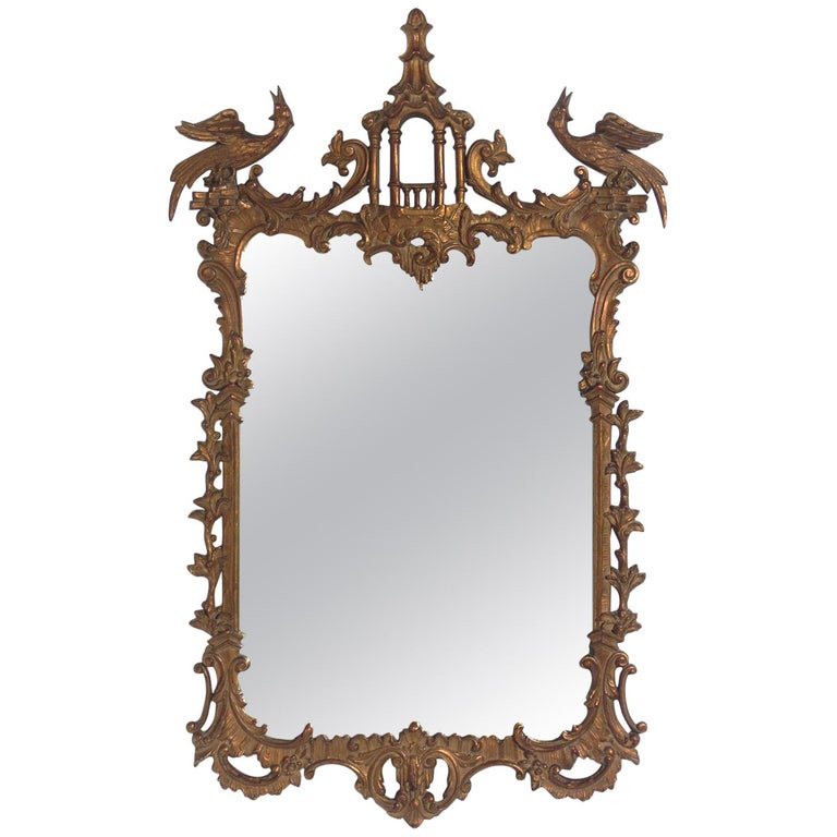 Gilt Chinese Chippendale or Chinoiserie Mirror For Sale