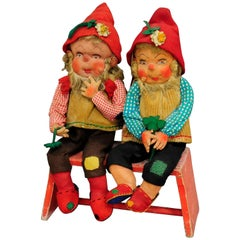 Pair of Whimsical Handmade Felt Gnomes, Germany, circa 1930