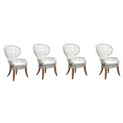 Set of Four Peacock Styled Outdoor or Indoor Luxury Dining Chairs