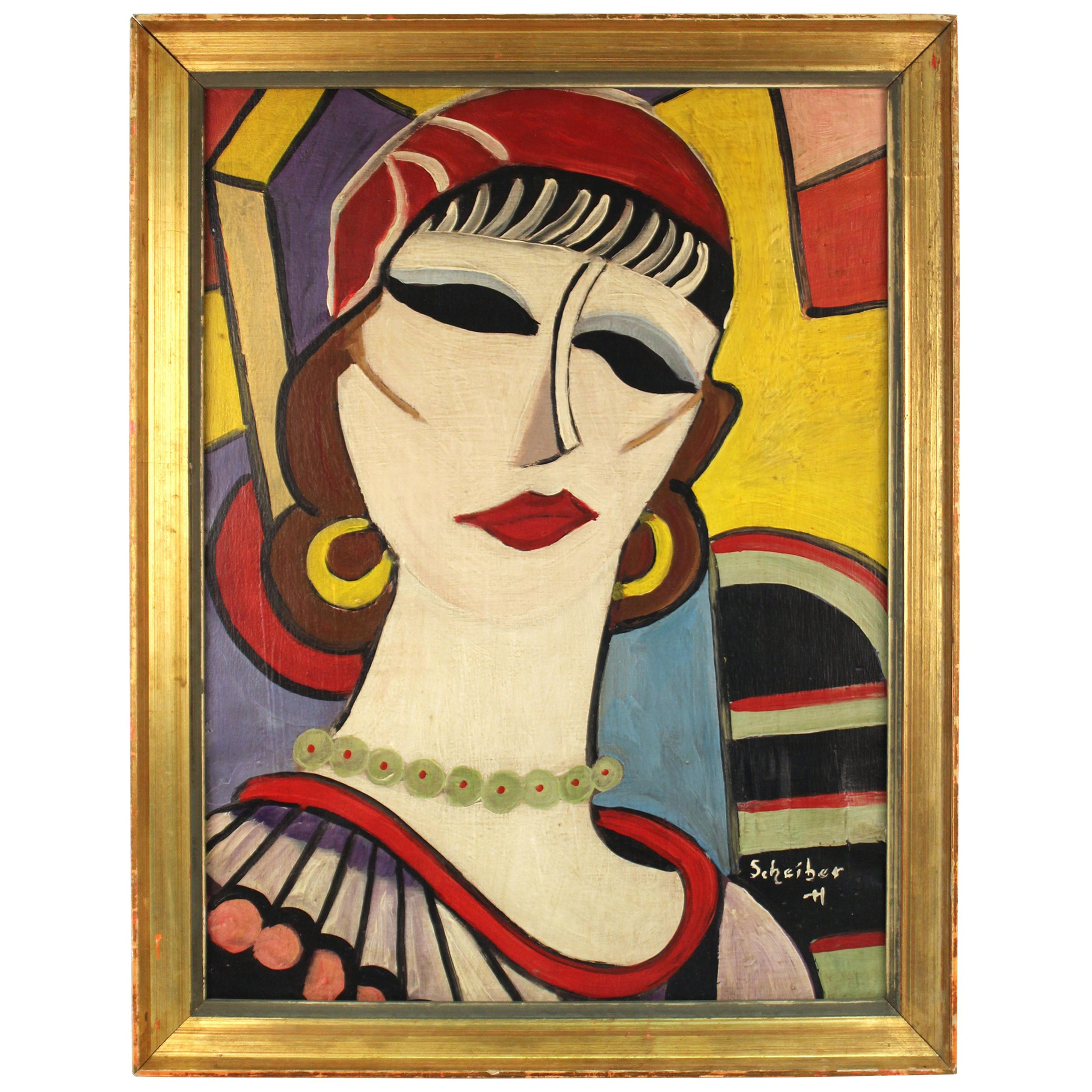 'Portrait of a Lady' Modernist Portrait Painting Attributed to Hugo Scheiber