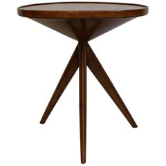 Mid-Century Rosewood Tripod Round Italian Coffee Table, 1950s.