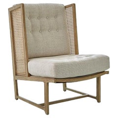 Midcentury Inspired Wing Chair with Handwoven Cane and Wood Frame