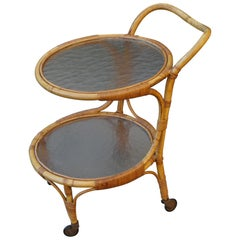 Handcrafted Midcentury Modern Bamboo & Rattan Drinks Cart with Mint Glass Tiers