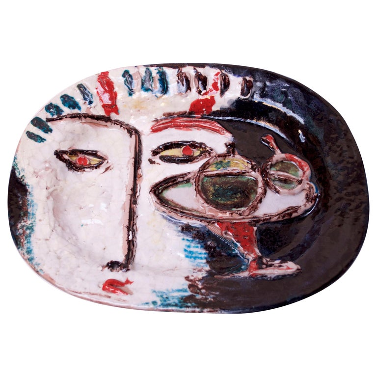 Abstract Italian Modernist Ceramic 'Face' Charger For Sale