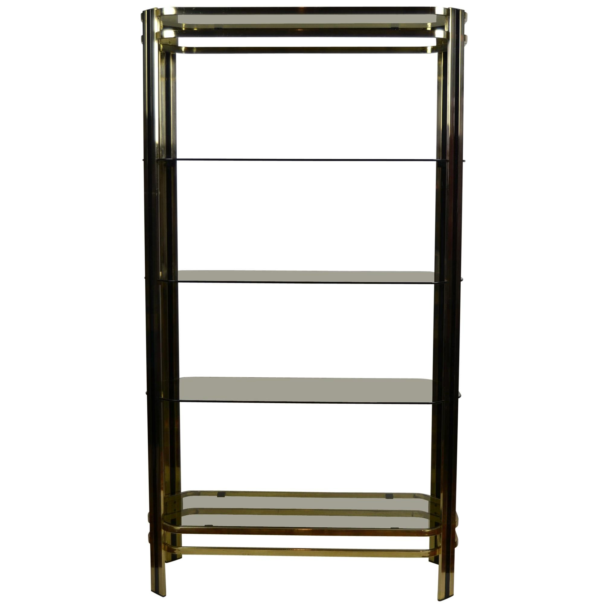 Vintage Brass and Black Étagère with Smoked Glass