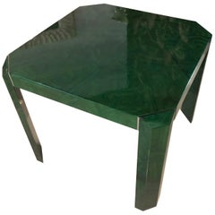 Vintage Faux Malachite Game or Dining Table Chrome Accents