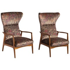 Modern Wingback Armchairs, France, circa 1950