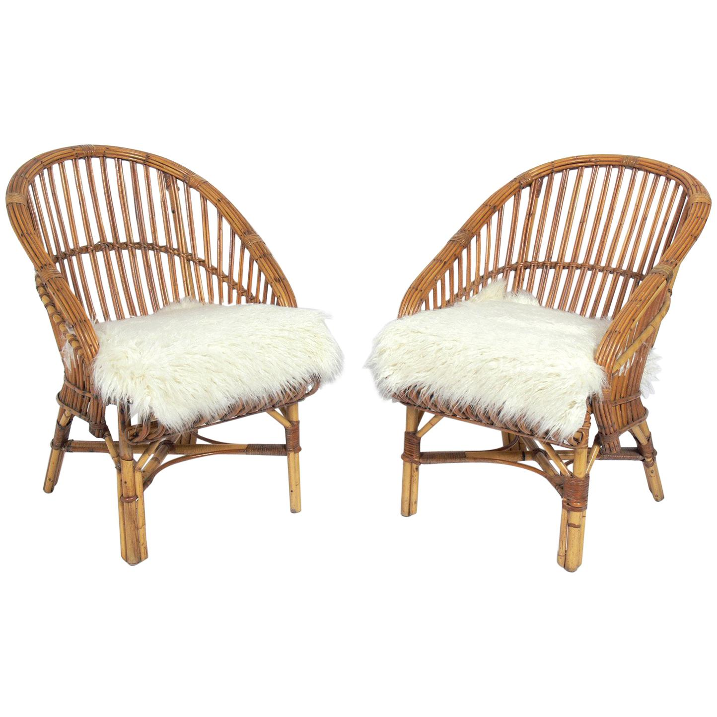 Pair of Curvaceous Rattan Chairs