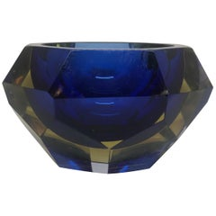 Blue and Pale Amber Murano Vide Poche