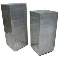 Pair of Midcentury Aluminum Industrial Pedestals