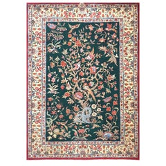 Authentic Persian Hand Knotted Tree of Life Green Qum Rug