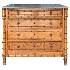 French Faux Bamboo Chest, White Marble Top, circa 1900
