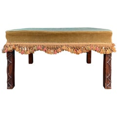 Early 20th Century English Mahogany Blind Fretwork and Needlepoint Stool Bench