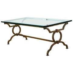 Wrought Iron Poillerat Style Coffee Table
