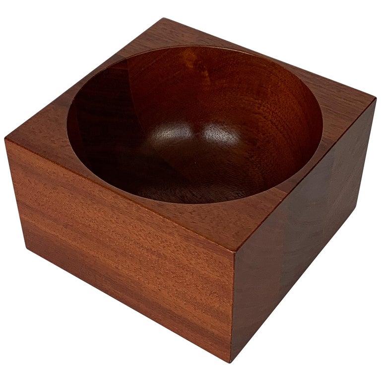 Modernist Mahogany Bowl by John Sage For Sale