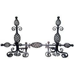 20th Century French Style Handwrought Iron Andirons with Log Roll Bar