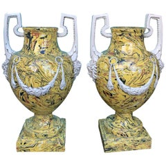 Pair of Mid-20th Century Italian Yellow Agateware Neoclassical Urns by Meiselman