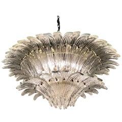 Vintage 1970s Venetian Murano Clear Glass Palmette Chandelier Art Deco Style