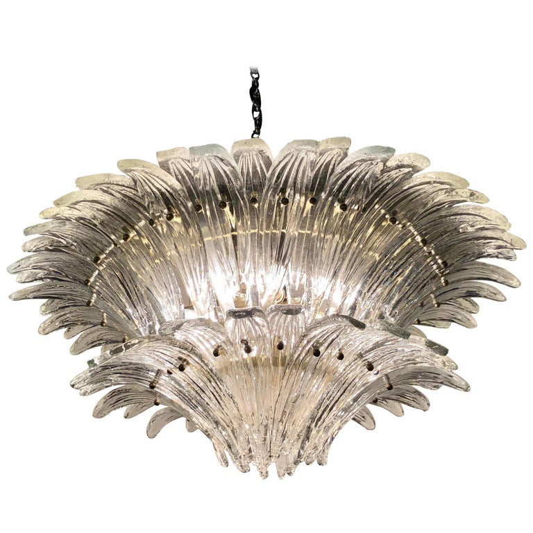 Vintage 1970s Venetian Murano Clear Glass Palmette Chandelier Art Deco Style For Sale