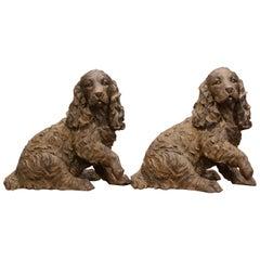Pair of Belgium Resin Cocker Spaniel Sculptures
