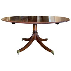 20th Century English Tilt-Top Round Pedestal Dining Table