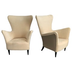 Midcentury Italian Gio Ponti Armchairs with Later Upholstery