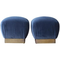 Pair of Ottomans or Stools in the Style of Karl Springer, 1970s