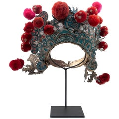 Antique Chinese Theatre Opera Headdress, Turquoise/Silver, Red/Fuchsia Pom-Poms