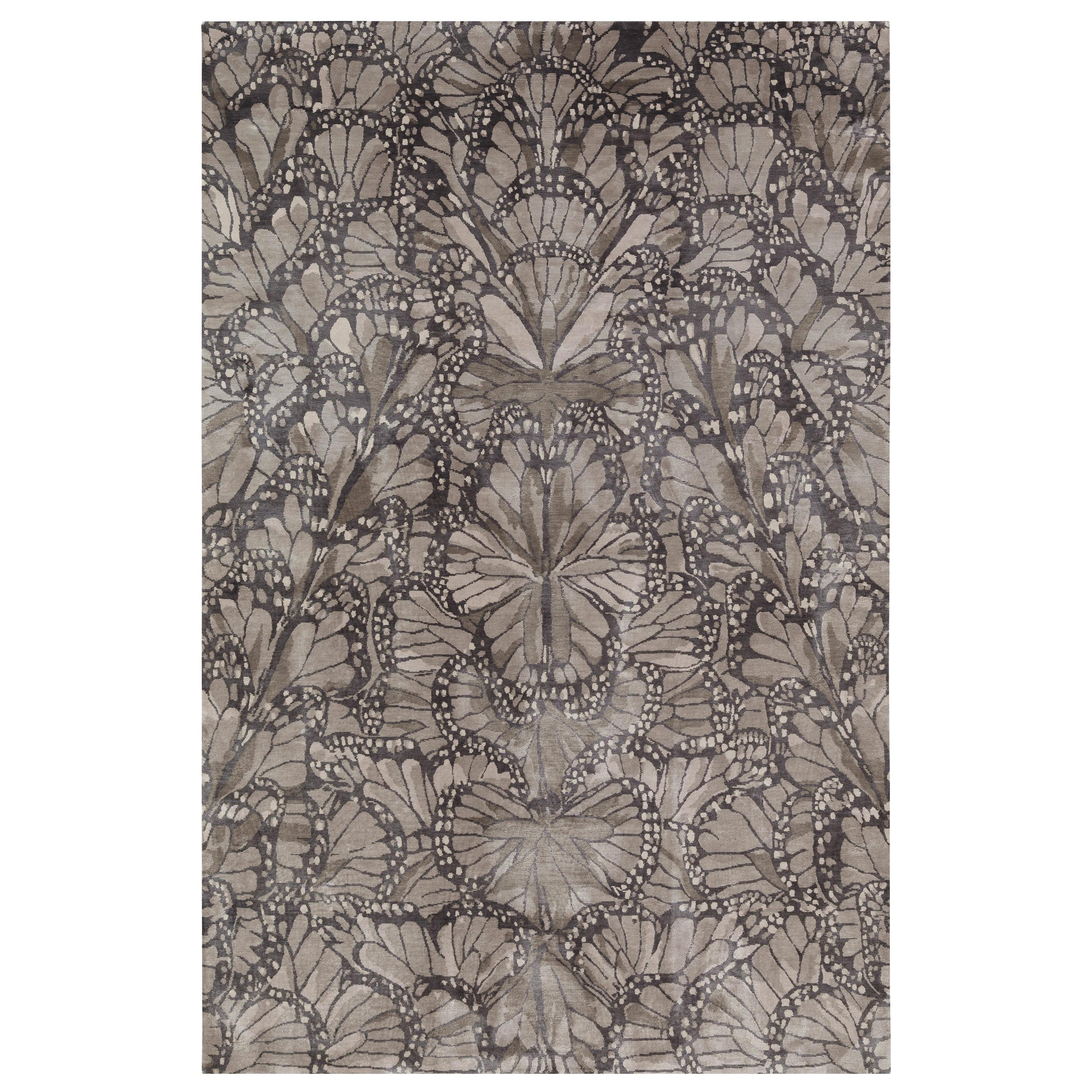 Monarch Smoke Hand-Knotted 10x8 Rug in Silk by Alexander McQueen